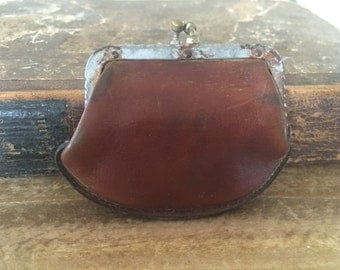 Antique Leather Coin Purse, Small Antique Leather Change Purse, Old Coin Purse, Vintage Leather Change Purse