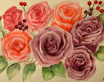 Roses-Giclee print of Watercolor painting