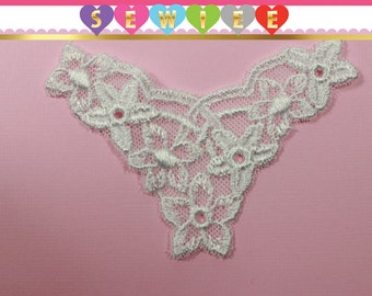 3pcs Tulle Applique Lace|White Embroidered Floral Design|V Shaped|Floral Lace Applique|Lace Inserts Insert Lingerie Craft Supplies Sewing