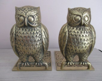 Vintage Brass Toned Owl Book Ends Made in Korea