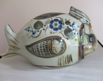 Vintage Mexican Tonala Stonewear Pottery Ceramic Fish