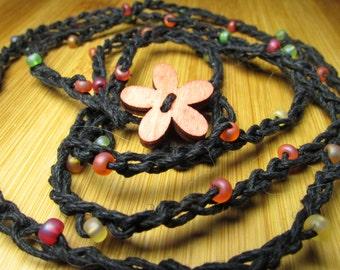 Black Hemp Wrap Bracelet