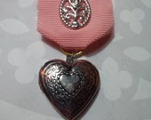 Pink Ribbon Medal With Silver Filigree Heart Locket - Portion of Proceeds to American Cancer Society