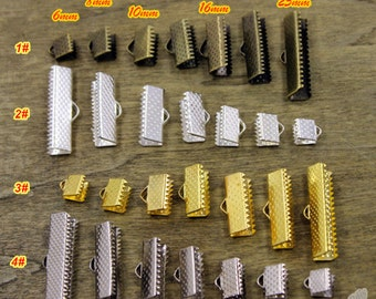 50 Pcs Antique Bronze Ribbon Crimp Ends Fasteners Clasp Ribbon Crimps Bronze Ribbon Clasp
