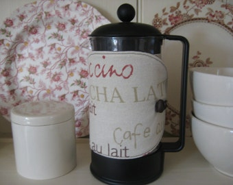 Cafetiere/French press cosy with coffee words print