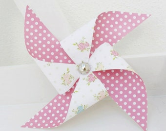 Set of 3 Shabby Chic floral paper Pinwheels  Shabby Chic Party Decor, Garden Party Decor.