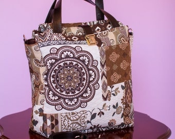 Detachable shoulder strap Brown and white patchwork handbag