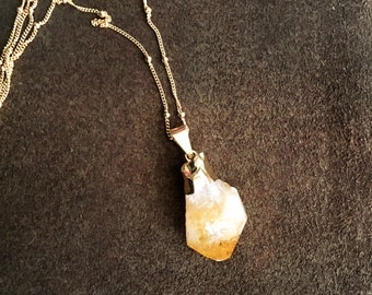 24k Gold Electroplated Raw Citrine Quartz Necklace on a Gold Filled Satellite Chain