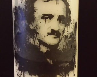 Poe with Raven Wax Candle