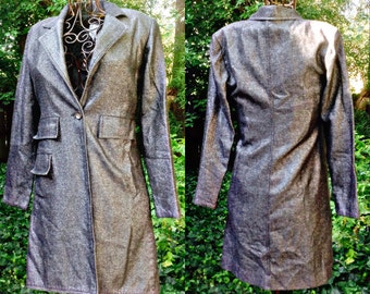 Fab FUNKY SHINNY Long...Black ? Silver ? Pewter?Sparkle ..ROCKSTAR..Vintage Coat size 4