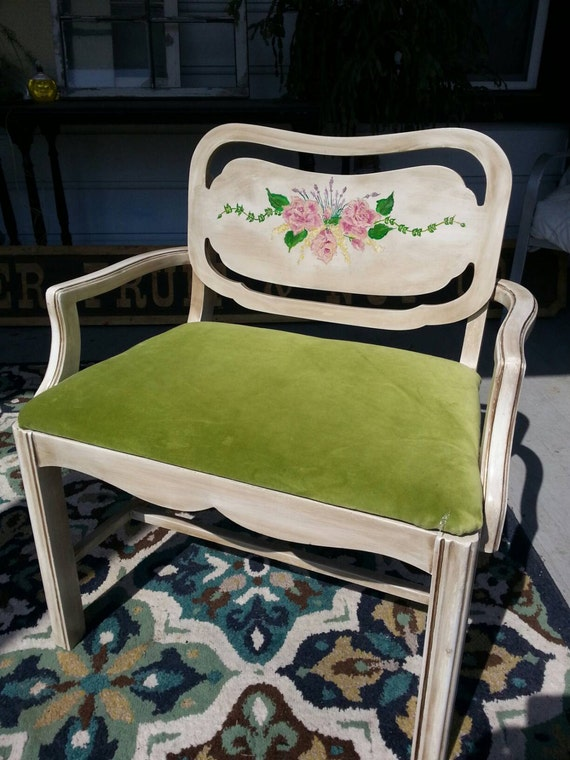 Clearance Vintage Furniture Vanity Chair Handpainted Roses And