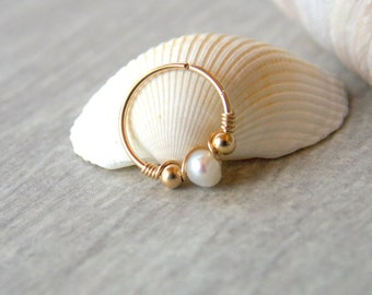 Nose ring - pearl nose hoop - nostril jewelry - nose hoop - tiny hoop - nose rings - gold filled hoop - silver hoop - gold nose hoop - Nose