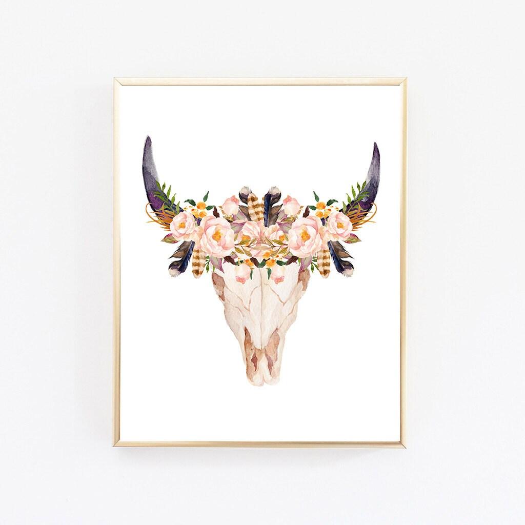 Boho print boho wall art boho room decor cow skull print for Boho wall decor