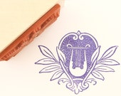 Decorative stamp - Lyre and Foliage / Unmounted rubber stamp - Vintage style - Ddokstamp