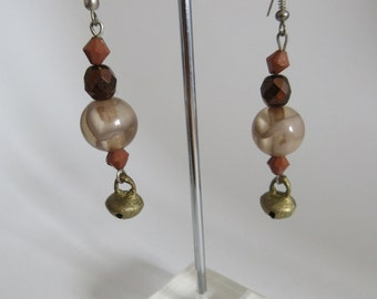 Brown earrings with bell , Handmade from Italy (low-cost collection cod.08)