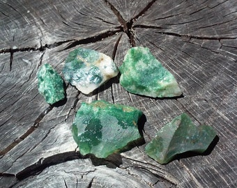 Moss Agate and Green Aventurine, 5 stones in this set