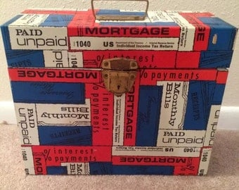 Vintage Porta File Box, Ballonoff Metal Storage Box, Red, White And Blue
