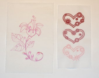 2 pieces of fabric hats and heart to the other sewing application image wedding table set pink pink red