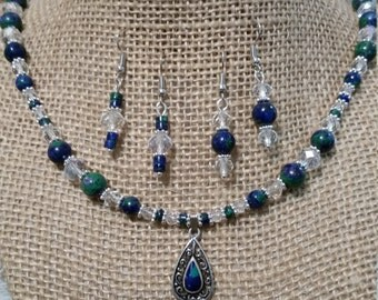 Azurite Necklace and Earring Set, Necklace and Earring Set