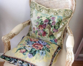 2 vintage cushion cover, tapestry fabric 45x45