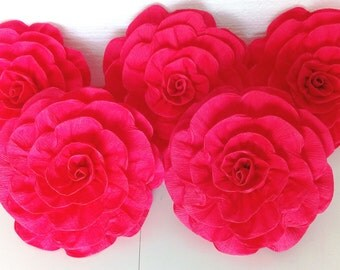8 giant paper flowers roses Flame red Wall Nursery decor Photo backdrop elena avalor bridal baby shower birthday Valentines party Scarlett