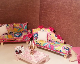 Pink Miniature 1:12 scale LIVINGROOM SET