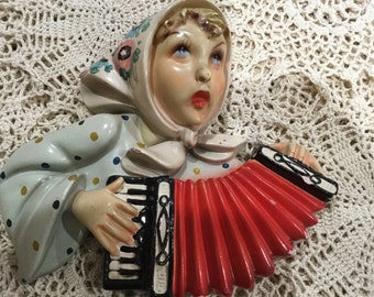 Vintage SAREM Riproduzione Made in Italy, Mandolin Player. Chalkware
