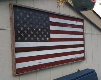 Barn Wood American Flag With Etched & Painted Stars