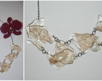 Ice hand made necklace with leafs (02)