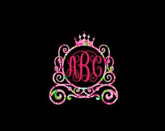 Princess Carriage Monogram Decal, complete in pretty patterns! Girls Room Decor, Nursery Decor, Princess Decor!