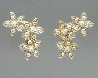 Vintage AB Crystal Clip On Rhinestone Flower Earrings - Gold Tone, Aurora Borealis Stones, Bridal Wedding Jewelry