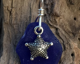 Genuine cobalt blue sea glass pendant