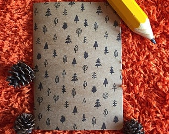 A4 A5 tree pattern black recycled notepad notebook sketchbook
