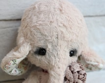 "Stuffed elephant "" CLAUDIA "".Teddy Bear.OOAK teddy.Mini teddy bear.Artist teddy bear.Retro teddy bear.Teddy"