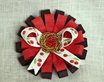 Red Brown Flower Clip, Felt Barrette, Felt flower, Felt clip, Alligator Clip, Hair Barrette, Girl barrette, Gift For Her, Hair Accessory