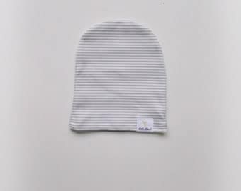 Grey and white stripped organic cotton knit slouchy beanie/knot hat