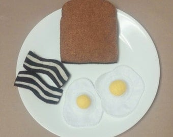Hand Stitched, Felt, Play Pretend, Breakfast Food, Bacon, Eggs and Toast
