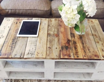 Pallet Coffee Table LEMMIK Farmhouse Style, Rustic, Shabby Chic & Industrial looking Reclaimed Wood, Upcycled Solid Wood