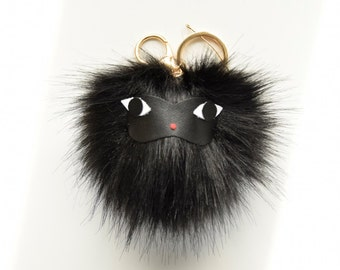 Black Monkey Pom-Pom Key Chain / Purse Charm