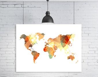 Boho world map, Boho Map, Boho, Printable World map, World map, Instant download, World map print, Wall art, Printable art, Large world map