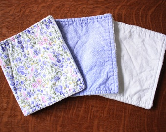 Lavender Burp cloths - Floral burp cloths - Baby girl burp cloths - Baby girl gift