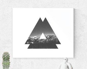 Wall art, Printable Art, Geometric, Black and White, Minimalist, Nordic, Scandinavian, Printable Wall Art, Geometric print, Landscape print