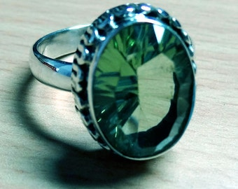 A Beautiful Design Green Amethyst 925 Sterling silver hand made Ring