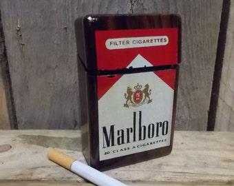 Vintage Marlboro cigarette box (case) made of wood.