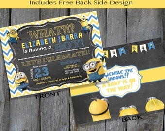 PRINTABLE Minion Baby Shower Invitation -  Personalized Minion Invitation - Minion & Chalk Shower Invite (S116)