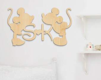 Disney Mickey Mouse, Disney Minnie Mouse, Disney, Mickey and Minnie, Wooden Letters, Bedroom Decor, Disney Family Initials, Wooden Initials