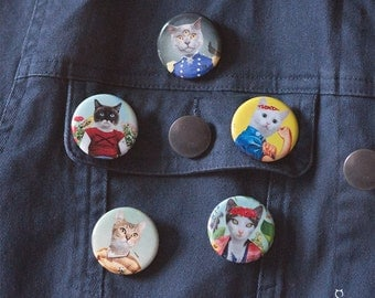 """Cat button called You Can Do It Girl. Perfect for pinning on a coat, a purse, a school bag or any other fabrics - 1.25"""""""