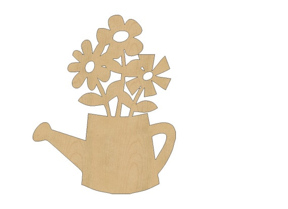 Flowers In Watering Can Cutout Shape Laser Cut Unfinished Wood