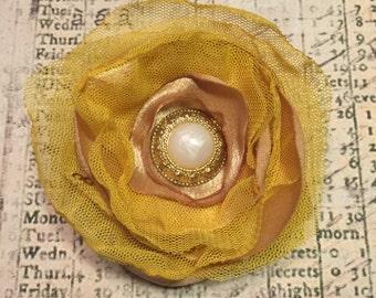 Yellow, Creamy Tan & Gold Pearl Flower Hair Clip