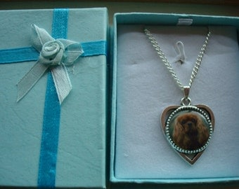 King Charles Cavalier Heart shaped Pendant. Choice of 4. Boxed